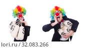 Купить «Businessman clown isolated on white», фото № 32083266, снято 8 мая 2013 г. (c) Elnur / Фотобанк Лори