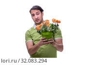 Young man suffering from allergy isolated on white. Стоковое фото, фотограф Elnur / Фотобанк Лори