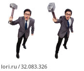 Business man holding hammer isolated on white. Стоковое фото, фотограф Elnur / Фотобанк Лори