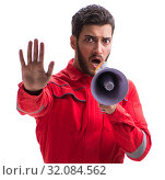 Young repairman with a megaphone bullhorn isolated on white back. Стоковое фото, фотограф Elnur / Фотобанк Лори