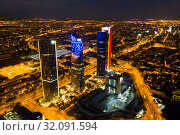Night view of the four towers (Cuatro Torres) of the business district in Madrid. Spain (2019 год). Стоковое фото, фотограф Яков Филимонов / Фотобанк Лори