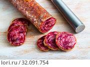 Купить «Dry cured sausage Salchichon», фото № 32091754, снято 19 сентября 2019 г. (c) Яков Филимонов / Фотобанк Лори