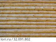 Купить «Стена дома из натуральных деревянных брёвен в качестве фона», фото № 32091802, снято 22 августа 2019 г. (c) Владимир Устенко / Фотобанк Лори