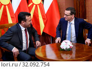 Warsaw, Poland 28.06.2018 Prime Minister of Macedonia visiting Poland. Pictured: Zoran Zaew and Mateusz Morawiecki. Редакционное фото, фотограф Kleta / age Fotostock / Фотобанк Лори