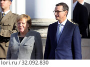 Купить «Warsaw Poland, November 2, 2018. Angela Merkel visiting Poland. Pictured: Angela Merkel and Mateusz Morawiecki», фото № 32092830, снято 2 ноября 2018 г. (c) age Fotostock / Фотобанк Лори
