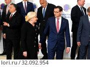 Warsaw, Poland 01.05.2019. Together for Europe Summit. Pictured: PM of Romania Viorica Dancila and PM of Poland Mateusz Morawiecki. Редакционное фото, фотограф Kleta / age Fotostock / Фотобанк Лори