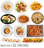 Купить «Collection of dishes of shrimps», фото № 32100082, снято 21 ноября 2019 г. (c) Яков Филимонов / Фотобанк Лори