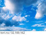 Купить «Небесный закатный пейзаж. Голубое небо. Blue dramatic sky background - picturesque colorful clouds lit by sunlight. Vast sky landscape panoramic scene, colorful sky view», фото № 32100162, снято 2 июня 2019 г. (c) Зезелина Марина / Фотобанк Лори