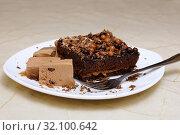Купить «Шоколадное пирожное с мороженым. Кусок бисквитного торта и кофейное мороженое», фото № 32100642, снято 22 августа 2017 г. (c) ирина реброва / Фотобанк Лори