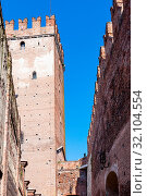 Travel to Italy - tower and inner walls of Castelvecchio (Scaliger) Castel in Verona city in spring. Стоковое фото, фотограф Zoonar.com/Valery Voennyy / easy Fotostock / Фотобанк Лори