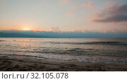 Купить «Timelapse of beautiful sunrise and floating clouds over the Black Sea», видеоролик № 32105078, снято 26 июня 2019 г. (c) Юлия Бабкина / Фотобанк Лори