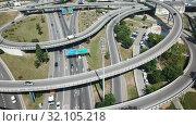 Купить «Aerial view of highway grade separation in Barcelona, Spain», видеоролик № 32105218, снято 12 июня 2018 г. (c) Яков Филимонов / Фотобанк Лори