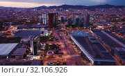 Купить «Scenic aerial view of Plaza de Europa of Barcelona in night lights», видеоролик № 32106926, снято 20 марта 2019 г. (c) Яков Филимонов / Фотобанк Лори