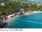 Купить «View of the city of Simeiz from the cliff of Diva, Crimea», фото № 32108694, снято 1 июля 2019 г. (c) Володина Ольга / Фотобанк Лори