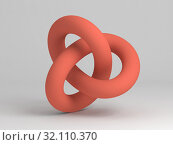 Купить «Geometrical representation of red torus knot», иллюстрация № 32110370 (c) EugeneSergeev / Фотобанк Лори