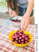 Купить «beautiful young woman washes cherries and eats», фото № 32110494, снято 7 июля 2019 г. (c) Акиньшин Владимир / Фотобанк Лори