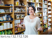 Купить «Woman shopping health supplements in drugstore», фото № 32112126, снято 21 сентября 2019 г. (c) Яков Филимонов / Фотобанк Лори