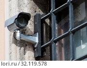Купить «Security with a video surveillance camera at a jailhouse window», фото № 32119578, снято 12 июля 2020 г. (c) easy Fotostock / Фотобанк Лори