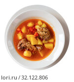 Купить «Delicious lamb soup with potatoes. Traditional oriental dish», фото № 32122806, снято 21 сентября 2019 г. (c) Яков Филимонов / Фотобанк Лори