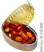Купить «Tasty sea pickled mussels in open tin can», фото № 32122826, снято 16 сентября 2019 г. (c) Яков Филимонов / Фотобанк Лори
