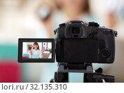 Купить «female beauty blogger making video about make up», фото № 32135310, снято 13 апреля 2019 г. (c) Syda Productions / Фотобанк Лори