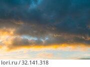 Купить «Небесный закатный пейзаж. Blue sky background - picturesque colorful clouds lit by sunlight, sunset evening view», фото № 32141318, снято 21 ноября 2018 г. (c) Зезелина Марина / Фотобанк Лори