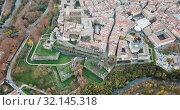 Купить «Aerial view of Pamplona medieval town with fortification in Navarre, Spain», видеоролик № 32145318, снято 23 декабря 2018 г. (c) Яков Филимонов / Фотобанк Лори