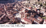 Aerial view of tiled roofs and old streets of Daroca, Spain (2019 год). Стоковое видео, видеограф Яков Филимонов / Фотобанк Лори