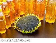Head of sunflower with seeds and bottled sunflower oil. Стоковое фото, фотограф FotograFF / Фотобанк Лори