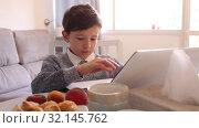Купить «Boy looking to display laptop at the table in the kitchen», видеоролик № 32145762, снято 12 июня 2019 г. (c) Яков Филимонов / Фотобанк Лори
