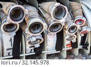 Fire and rescue equipment in a fire truck (2019 год). Редакционное фото, фотограф FotograFF / Фотобанк Лори