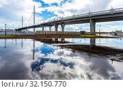Купить «Cable-stayed bridge of Western High-Speed Diameter through Peter's fairway», фото № 32150770, снято 8 августа 2018 г. (c) FotograFF / Фотобанк Лори