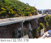 Купить «Budva, Montenegro - June 12.2019. The mountain road along the coast», фото № 32151178, снято 12 июня 2019 г. (c) Володина Ольга / Фотобанк Лори