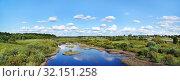 Купить «Тверская область, Кимрский район, вид с моста на реку Медведицу», эксклюзивное фото № 32151258, снято 6 апреля 2020 г. (c) Dmitry29 / Фотобанк Лори