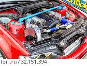 Купить «Tuned turbo car engine of Toyota in vehicle», фото № 32151394, снято 19 мая 2018 г. (c) FotograFF / Фотобанк Лори