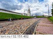 Купить «Kazan Kremlin and cobblestone street in summertime», фото № 32151402, снято 10 июня 2018 г. (c) FotograFF / Фотобанк Лори