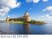 Купить «Historical medieval Oreshek fortress is an ancient Russian fortress», фото № 32151470, снято 8 августа 2018 г. (c) FotograFF / Фотобанк Лори