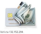 Купить «Credit card and dollar in cash. Banking, shopping concept. Opening a wallet or bank account.», фото № 32152294, снято 29 февраля 2020 г. (c) Maksym Yemelyanov / Фотобанк Лори