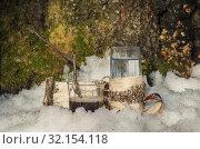 Стаканы с берёзовым соком и сиропом из берёзового сока. A glass of birch SAP and syrup from birch SAP. Стоковое фото, фотограф Евгений Романов / Фотобанк Лори