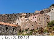 Купить «View of street fortified town Monemvasia (Laconia, Greece, Peloponnese)», фото № 32155154, снято 15 июня 2019 г. (c) Татьяна Ляпи / Фотобанк Лори