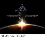 Купить «Spacecraft Orbiting Earth. 3D Illustration.», иллюстрация № 32161634 (c) Александр Володин / Фотобанк Лори