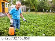 Купить «Man works with garden spray in the yard», фото № 32166858, снято 19 октября 2019 г. (c) Яков Филимонов / Фотобанк Лори