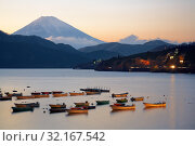 Купить «The view of Mount Fuji summit at the sunset over the Lake Ashi. Kanagawa Prefecture. Honshu. Japan», фото № 32167542, снято 1 декабря 2007 г. (c) Serg Zastavkin / Фотобанк Лори