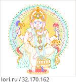 Купить «Ganesh Puja linear style icon», иллюстрация № 32170162 (c) Седых Алена / Фотобанк Лори