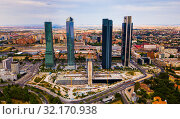 Four business skyscrapers (Cuatro Torres) of the business district in Madrid, Spain (2019 год). Стоковое фото, фотограф Яков Филимонов / Фотобанк Лори