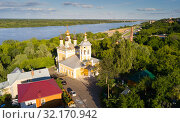 Summer aerial view of old district of Murom with Oka (2018 год). Стоковое фото, фотограф Яков Филимонов / Фотобанк Лори