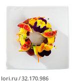 Купить «Top view of raw tuna tartare with figs and cucumber», фото № 32170986, снято 20 ноября 2019 г. (c) Яков Филимонов / Фотобанк Лори