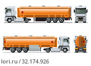 Купить «Vector realistic tanker truck template isolated», иллюстрация № 32174926 (c) Александр Володин / Фотобанк Лори