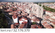 Купить «Aerial view on the Cathedral of Burgos. Castilla y Leon. Spain», видеоролик № 32176370, снято 20 июня 2019 г. (c) Яков Филимонов / Фотобанк Лори