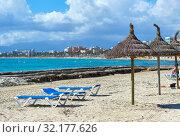El Arenal sandy beach, Mallorca Island, Baleares, Spain (2019 год). Стоковое фото, фотограф Alexander Tihonovs / Фотобанк Лори
